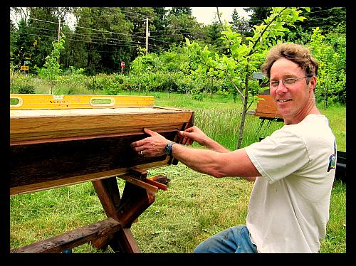 beekeeper installing top bar hive