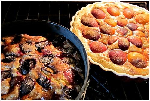 plum peach buckle cake