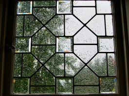 beveled glass window rainy day