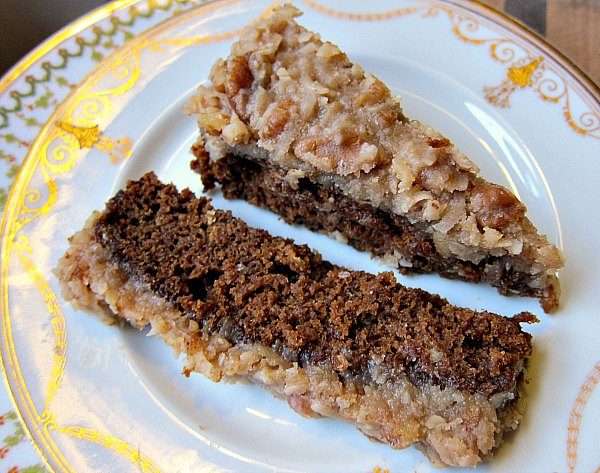 slice molasses oatmeal cake coconut frosting