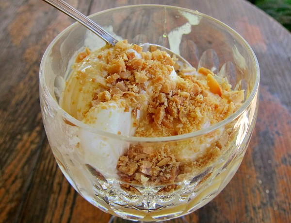 vanilla ice cream in a bowl topped with honey and peanuts