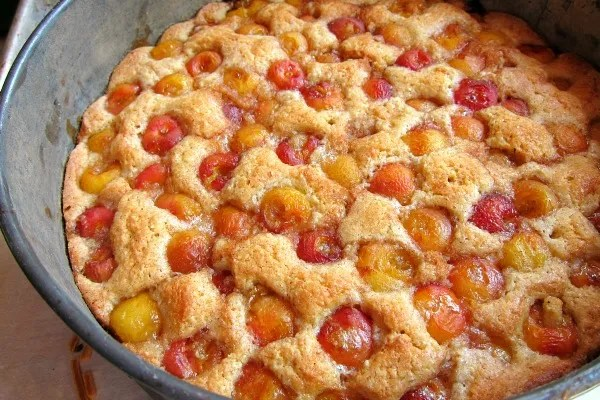 Rainier cherries almond cake