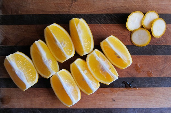 quartered lemons