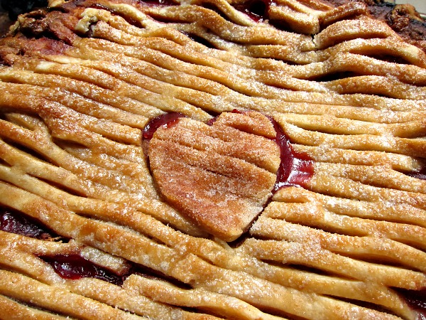peach melba pie heart