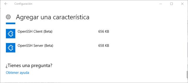 Agregar una característica: Cliente o servidor OpenSSH