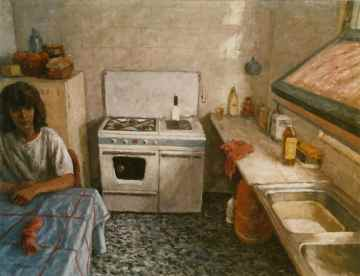 1. THE KITCHEN. Oil on canvas. 114x146 cm. Figurative painting classes