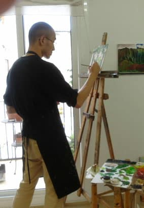 Oil painting still life sketches at Taller 4 Pintors. Barcelona