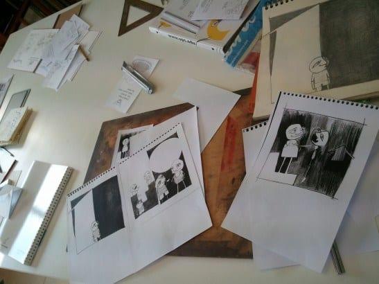 Originals i còpies, llapis i tinta taller il·lustració 4 Pintors