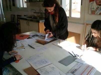 Preparación de los originales de un cuento ilustrado. Taller en BCN 4 Pintors