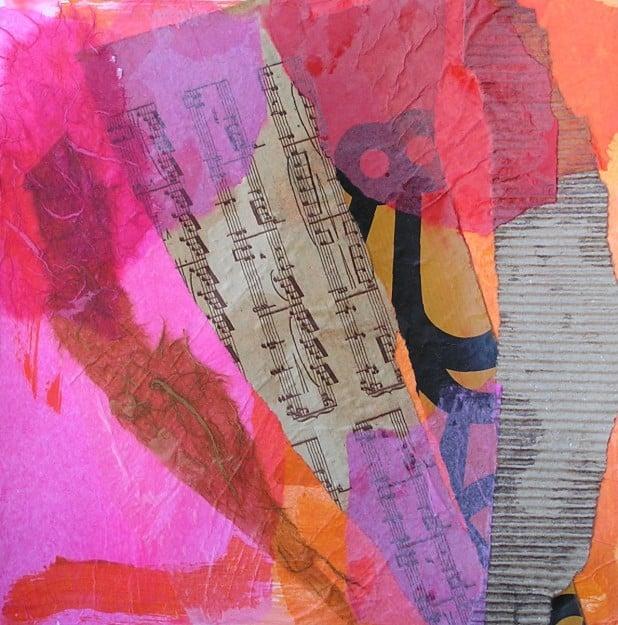 Composición semiabstracta en collage de papeles diversos