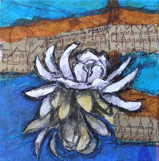 Flor en tècnica mixta, pintura d'un alumne del Taller