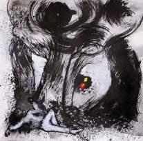 Figura bajo un árbol. Tinta y acrílico y papel en 4 Pintors