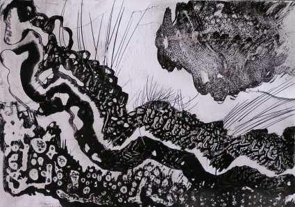 Dibujo con formas orgánicas a tinta sobre papel. Taller de 4 Pintors