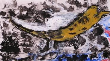 Pájaro amarillo. Acrílico-tinta y papel en clases en Barcelona
