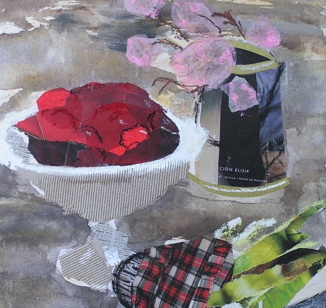Naturaleza muerta. Técnica mixta: collage, pintura, pastel
