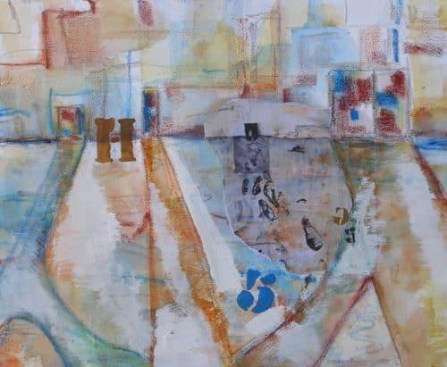 Composició en collage, acrílic i pastel sobre paper als 4 Pintors
