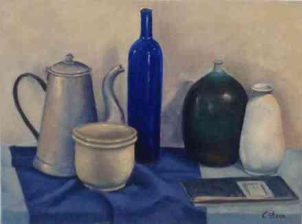 BODEGÓN AZUL. Estudio de color del natural al óleo en la escuela de pintura