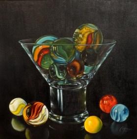 Estudio al óleo de objetos de cristal. Taller 4 Pintors BARCELONA