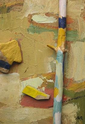 Acrílic sobre collage-relleu de fusta. Curs art Barcelona