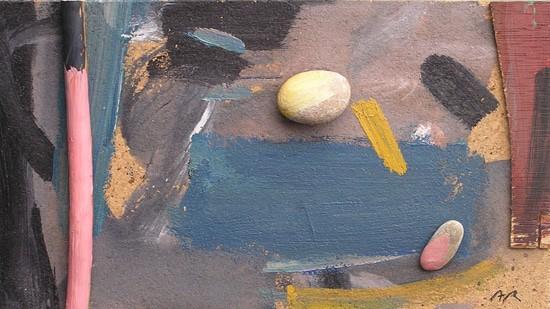 Acrílic i collage amb pedra i fusta a escola d'art