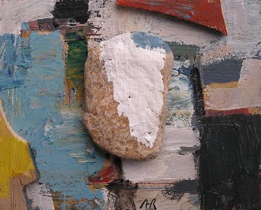 Acrílic i collage amb pedra i fusta. Pintura Barcelona