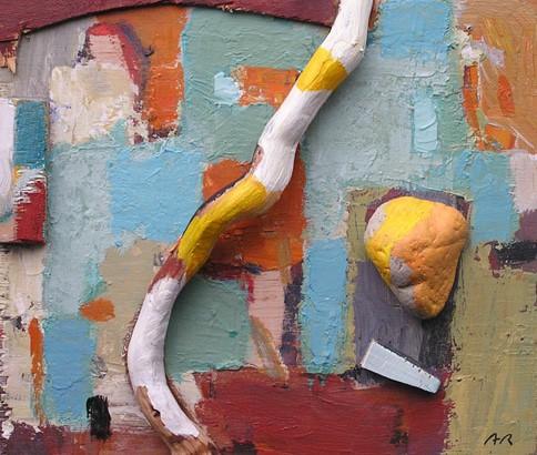 Acrílic, collage amb pedra sobre fusta. Escola de pintura