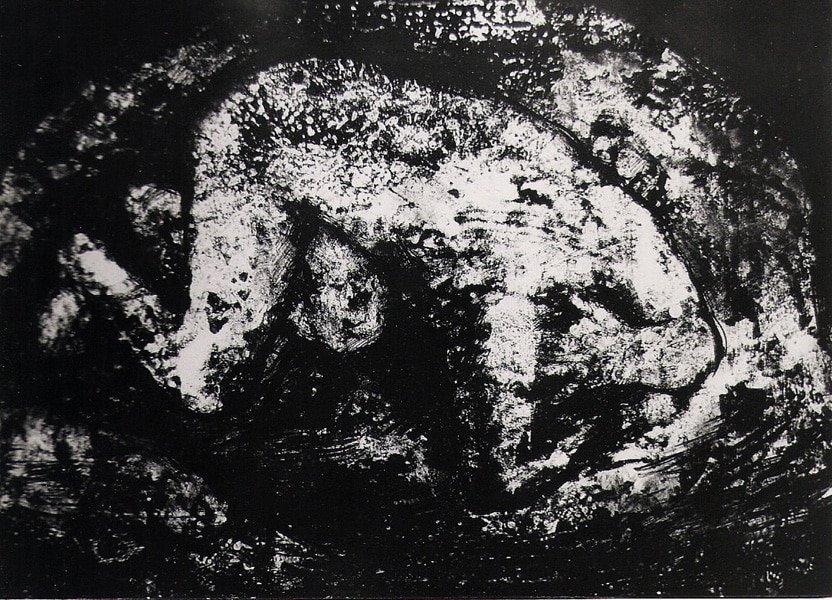 Dibuix a tinta d'Agustí Roca, Barcelona. Home a terra