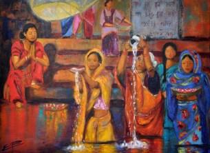 A la vora del Ganges. Esther Puig. Acrílic-tela. Cursos tècnica mixta