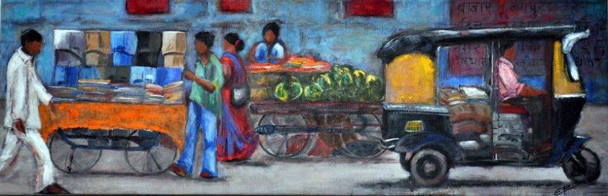 Esther Puig. Dia de mercat a Bangalore. Acrílic/tela. Cursos pintura Barcelona