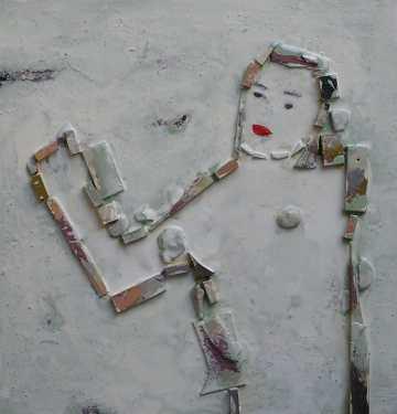 FIGURA FEMENINA. Tècnica mixta sobre fusta. Pintura i dibuix Barcelona