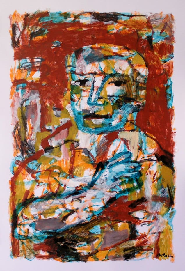 Retrat masculí. Pintura acrílica sobre paper