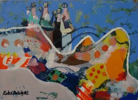 Tècnica mixta: collage i pintura acrílica. Art figuratiu i abstracte