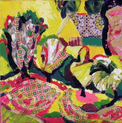 Acrílic i collage sobre tela. Taller de 4 Pintors