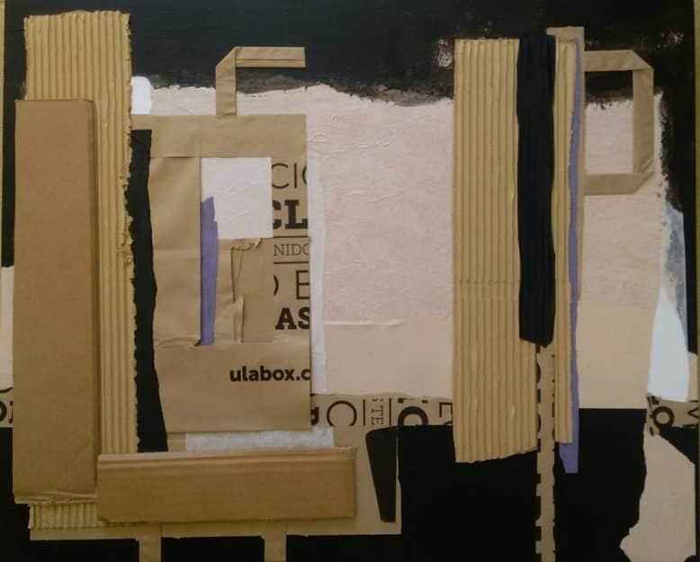 Collage en papel y cartón sobre madera