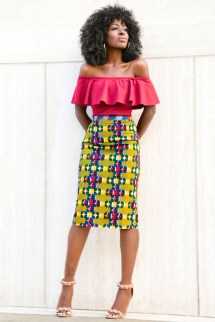 Off shoulder top on ankara pencil skirt by @stylepantry