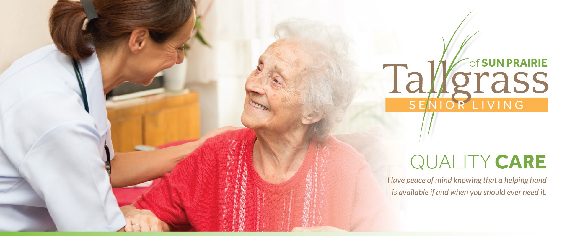 Older senior woman receiving care in her apartment from a healthcare professional.