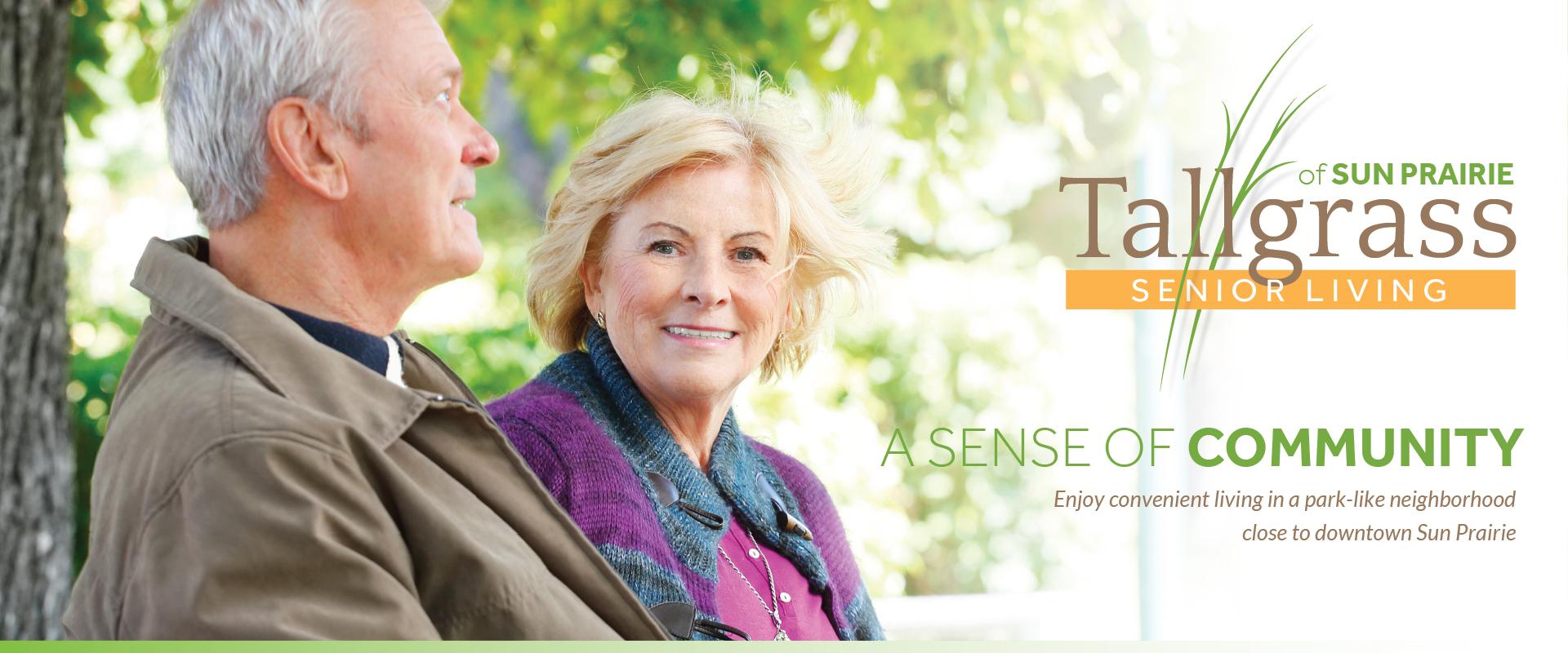 Older adult couple enjoying the park like atmosphere around our senior living community.