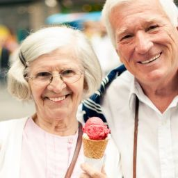 Senior husband and wife with an ice cream cone