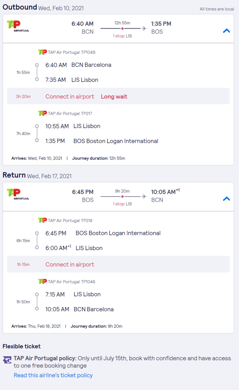 Barcelona to Boston Skyscanner screenshot