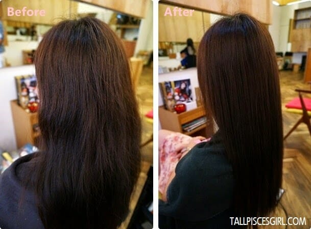 Before and After JOICO K-Pak 4 Step System treatment