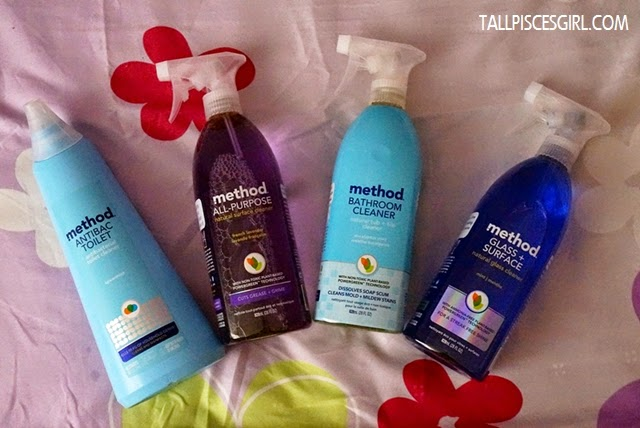 Left to right: method Antibac Toilet Cleaner, method All-purpose Natural Surface Cleaner, method Bathroom Cleaner and method Glass + Surface Cleaner. Thanks to method Malaysia!