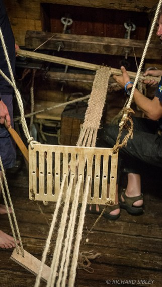 Adjusting the eight sided oak pieces to improve the tension on the Warp