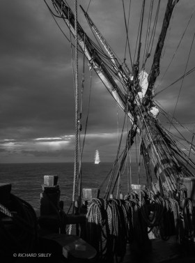 Following NRP Sagres into the storm, sailing to Dover