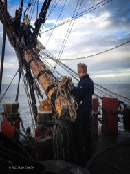 Setting up lines on the bowsprit