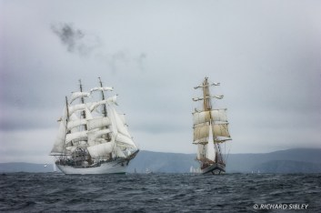 Barque Gloria, Columbia and Polish Barquentine Pogoria - Lerwick race start