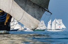 Background vessels are the Dutch Schooner Eendracht, Pelican of London, Norwegian Full Rigger Christian Radich, German Barque Alexander von Humboldt ll and Omani Barquentine Shabab Oman.