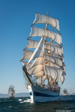 Russian full rigger MIR. Background vessels, Lord Nelson, America Vespucci and Santa Maria Manuela