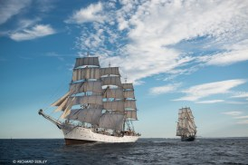Norwegian full rigger, Christian Radich and Dutch clipper brig Morgenster