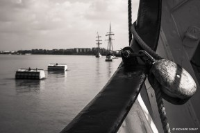 Tall Ships moored on the Thames