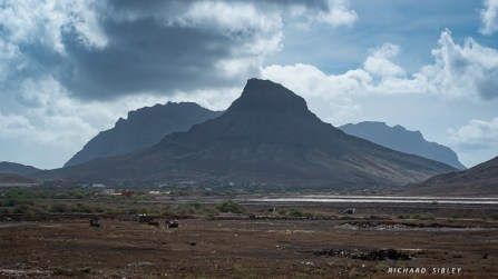 The scenery is mostly volcanic to the east and north